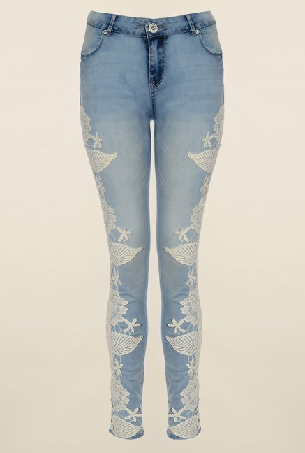 Quiz Denim Blue Applique Jeans