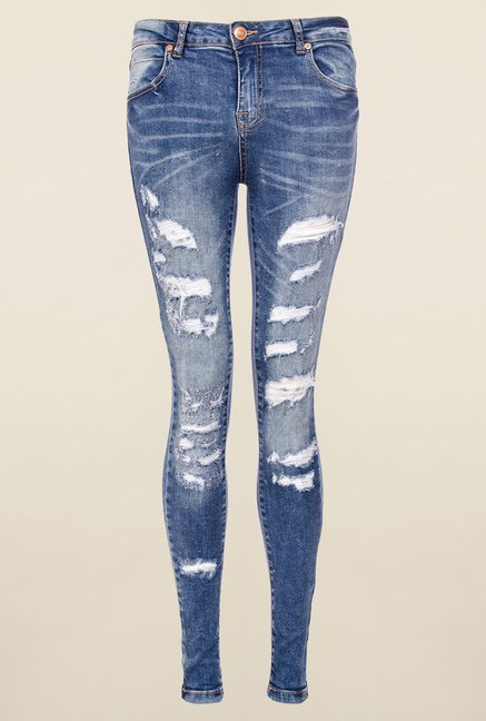 Quiz Denim Blue Ripped Jeans