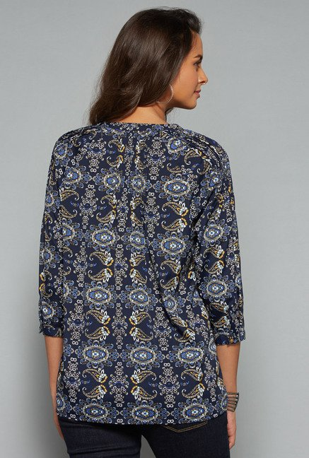 LOV Navy Printed Regular Fit Blouse