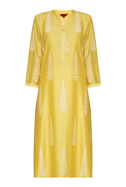 Zuba Yellow Printed Kurta