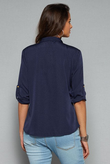 LOV Navy Solid Blouse