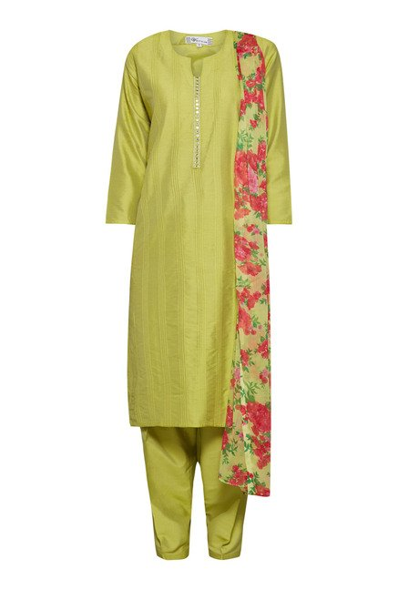 Vark Green Embroidered Churidar Suit Set