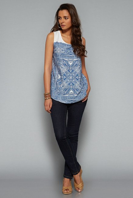 LOV Blue Printed Blouse