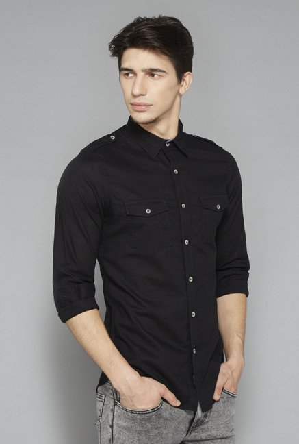 Nuon Black Solid Slim Fit Shirt