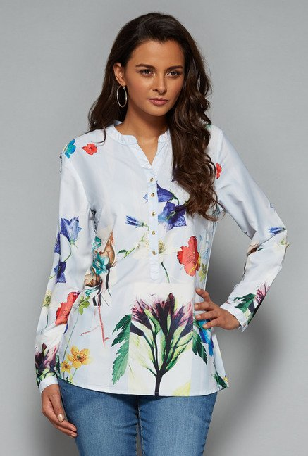 LOV Light Blue Keira Printed Blouse