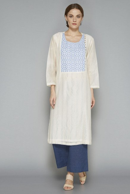 Zuba Off White Embroidered Kurta