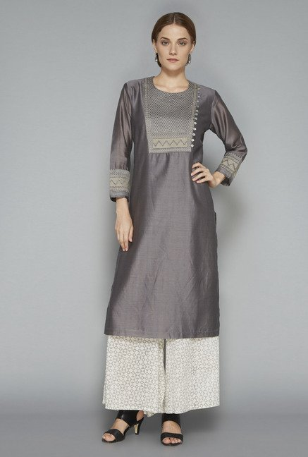 Zuba Grey Embroidered Kurta