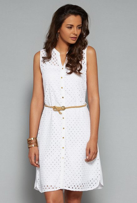 LOV White Crochet Shirt Dress