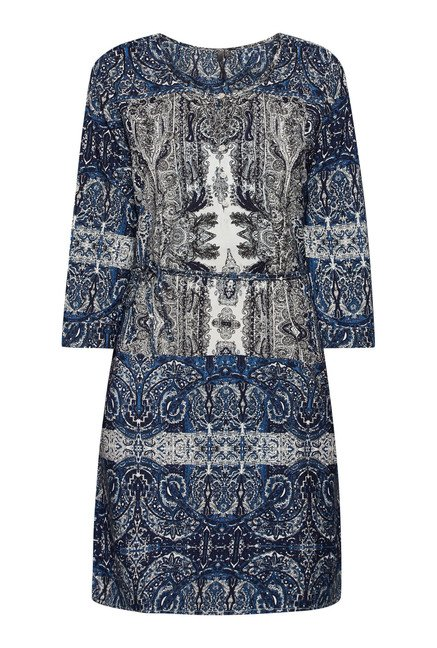 LOV Navy Printed Shift Dress