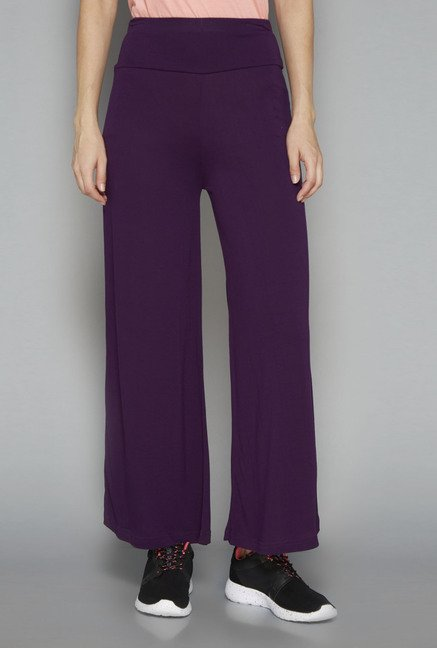Westsport Womens Purple Solid Yoga Pant