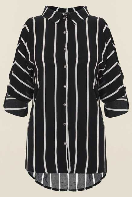 Quiz Black & White Striped Shirt
