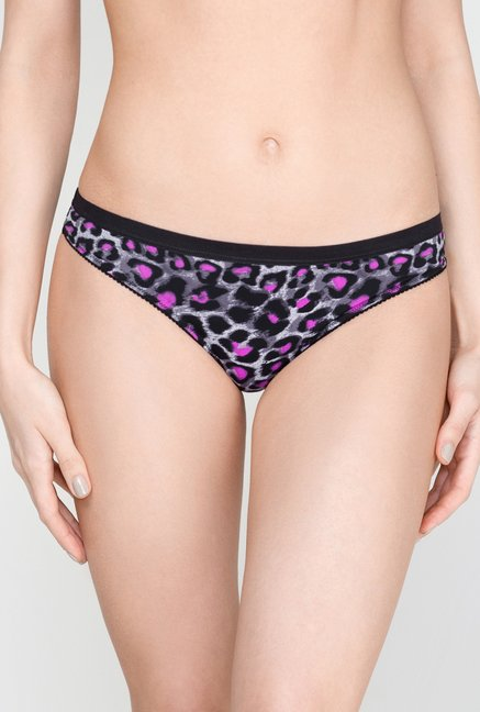 Infinity Lingerie Sauda Purple & Black Printed Thong