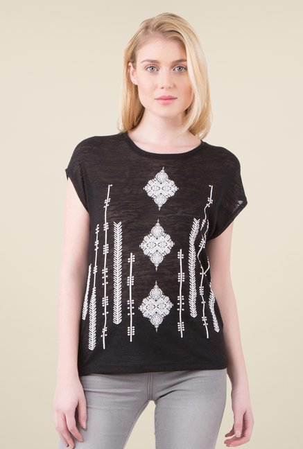 MIM Black Embroidered Top