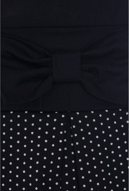 Quiz Navy Polka Dot Panel Skater Dress