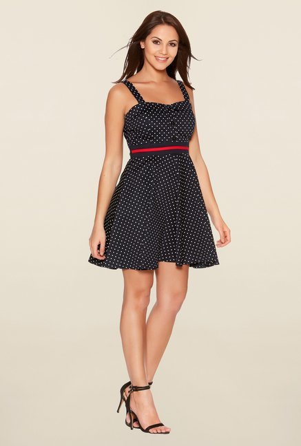 Quiz Navy Polka Dot Skater Dress