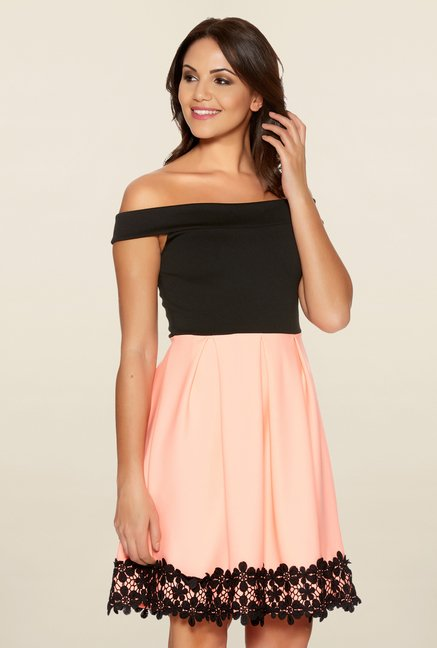 Quiz Black & Coral Skater Dress