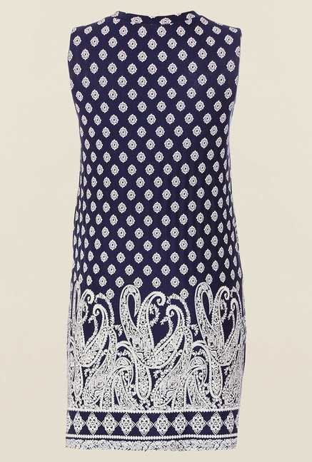 Quiz Navy Printed Sleeveless Split Top