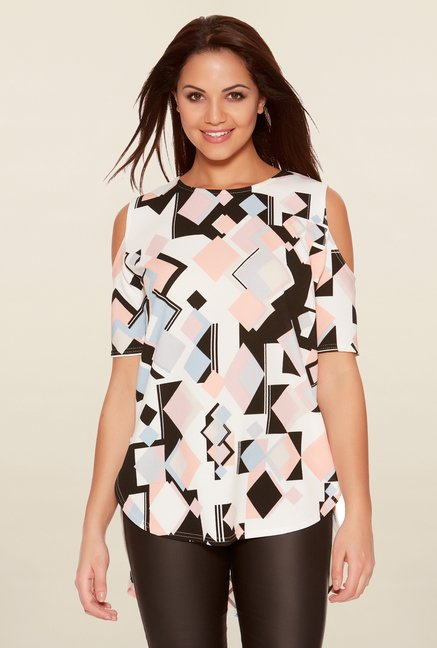 Quiz Multicolor Geometric Print Top