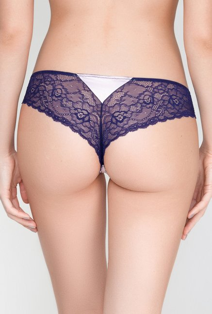 Infinity Lingerie Valika Navy & White Lace Thong