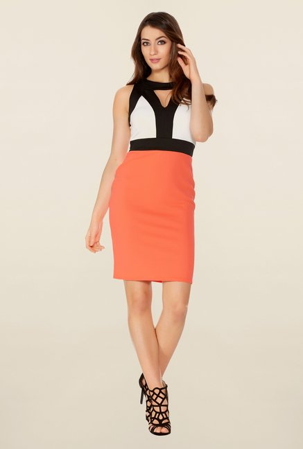 Quiz Coral & Black Contrast Bodycon Dress