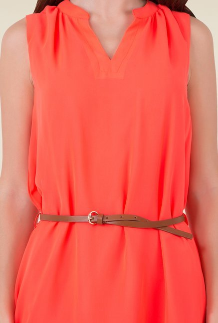 MIM Coral Solid A-Line dress