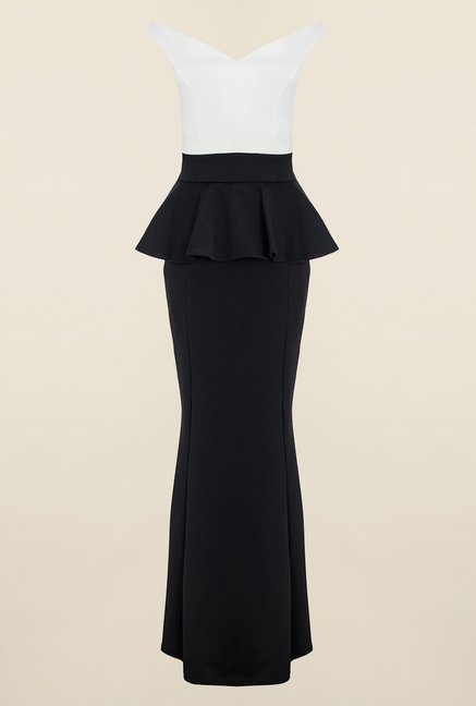 Quiz White & Black Peplum Fishtail Maxi Dress