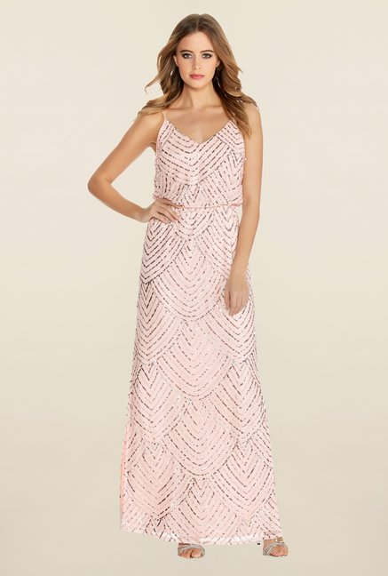 Quiz Blush Pink Embellished V Neck Strappy Dress