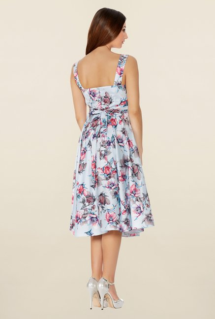 Quiz Blue & Pink Floral Print Princess Panel Dress