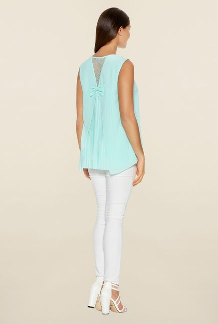 Quiz Aqua & Gold Lace Bow Top