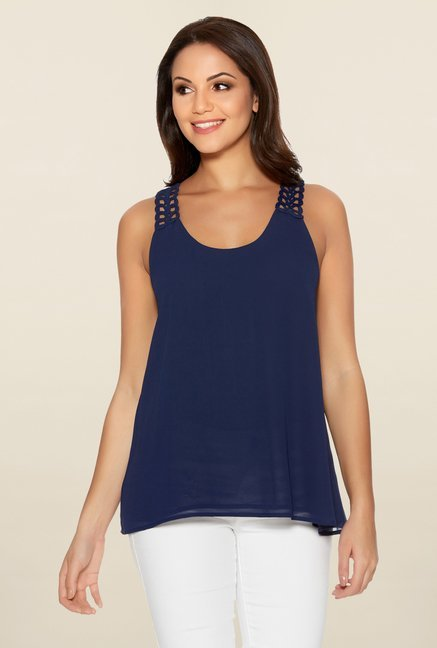 Quiz Navy Crochet Back Swing Top