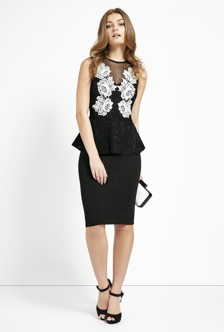 Lipsy Black Embroidered Dress