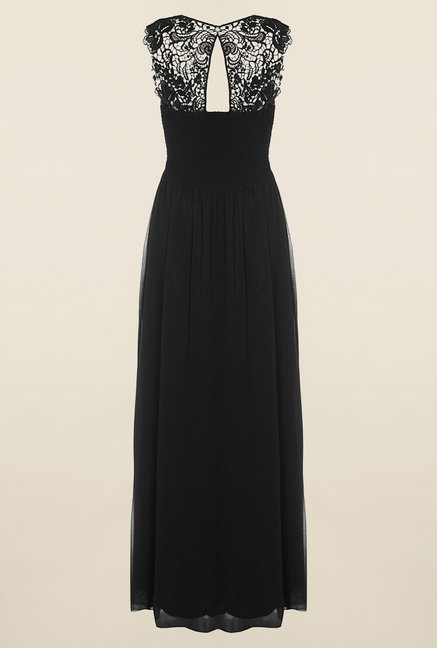 Quiz Black & White Chiffon Diamante Maxi Dress