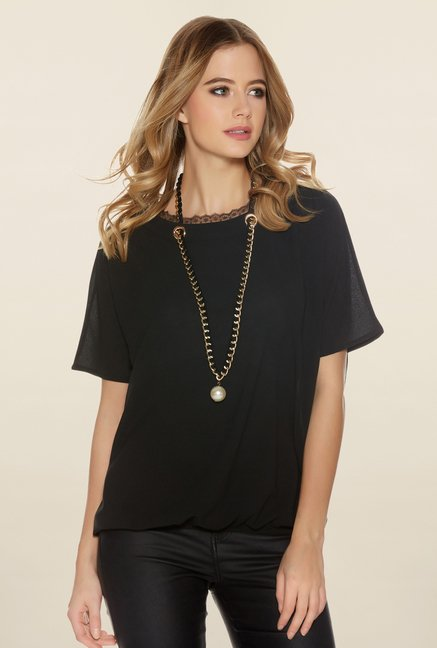 Quiz Black Solid Necklace Top