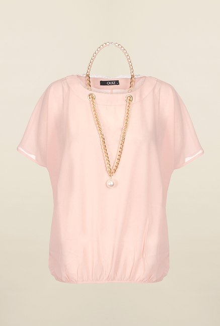 Quiz Peach Solid Necklace Top