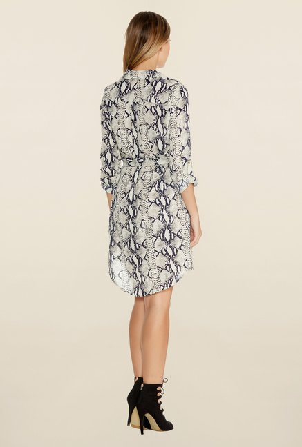 Quiz Cream Snake Print Shirt Dress