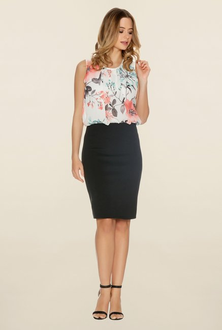 Quiz Multicolor Floral Blouson Dress