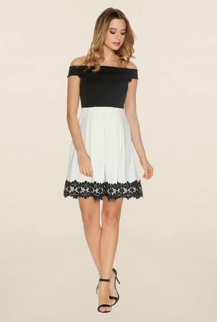 Quiz Black & White Pleated Skater Dress