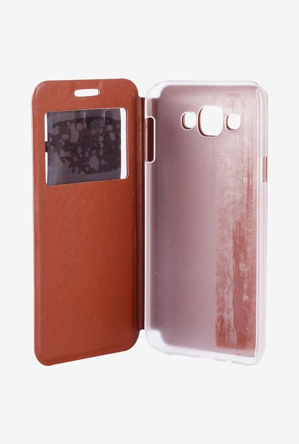 Noise Flip Cover for Samsung Galaxy E7 (Brown)