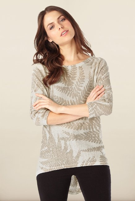 Phase Eight Beige Printed Linen Sweater