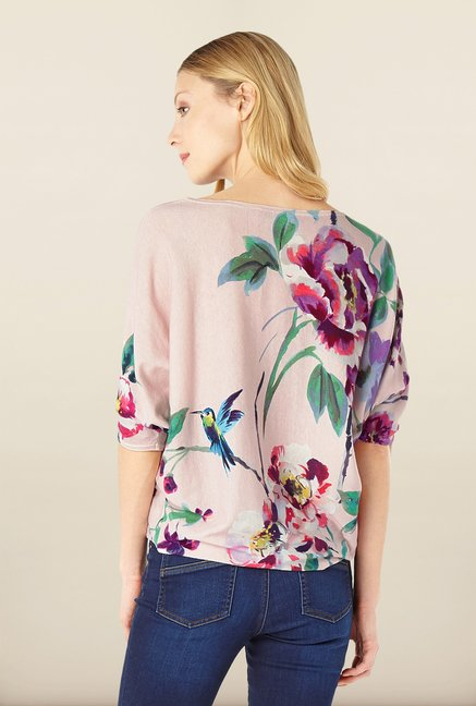 Phase Eight Peach Floral Printed Sweater