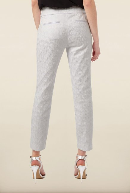 Phase Eight White Self Textured Casual Trousers