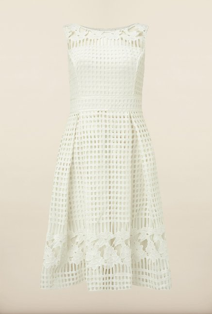 Phase Eight Off White Crochet Casual Dress