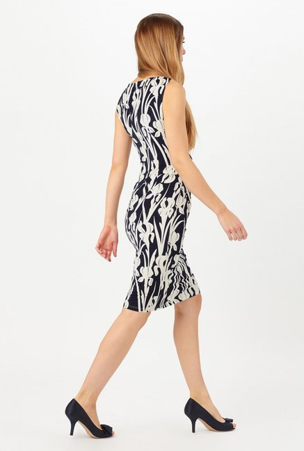 Phase Eight Navy & White Printed Jersey Dress