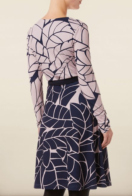 Phase Eight Navy Printed Wrap Dress