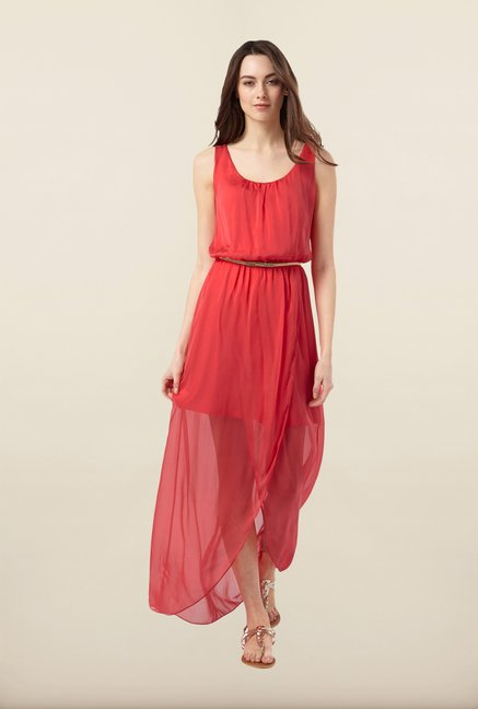 Phase Eight Orange Solid Maxi Dress