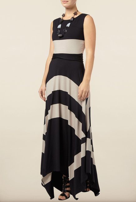 Phase Eight Black Striped Maxi Dress