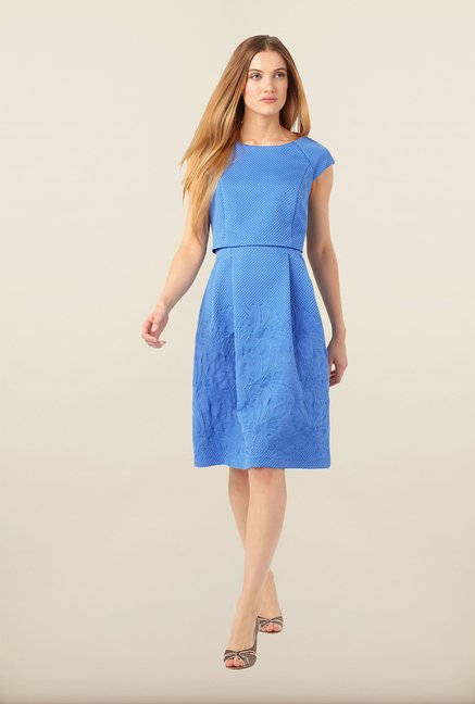Phase Eight Blue Embroidered Casual Dress