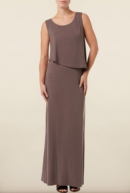 Phase Eight Brown Solid Maxi Dress
