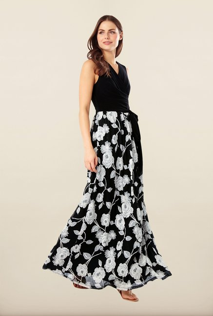Phase Eight Black Embroidered Maxi Dress