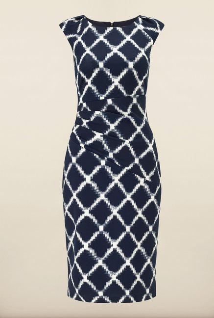 Phase Eight Navy Diamond Print Dress